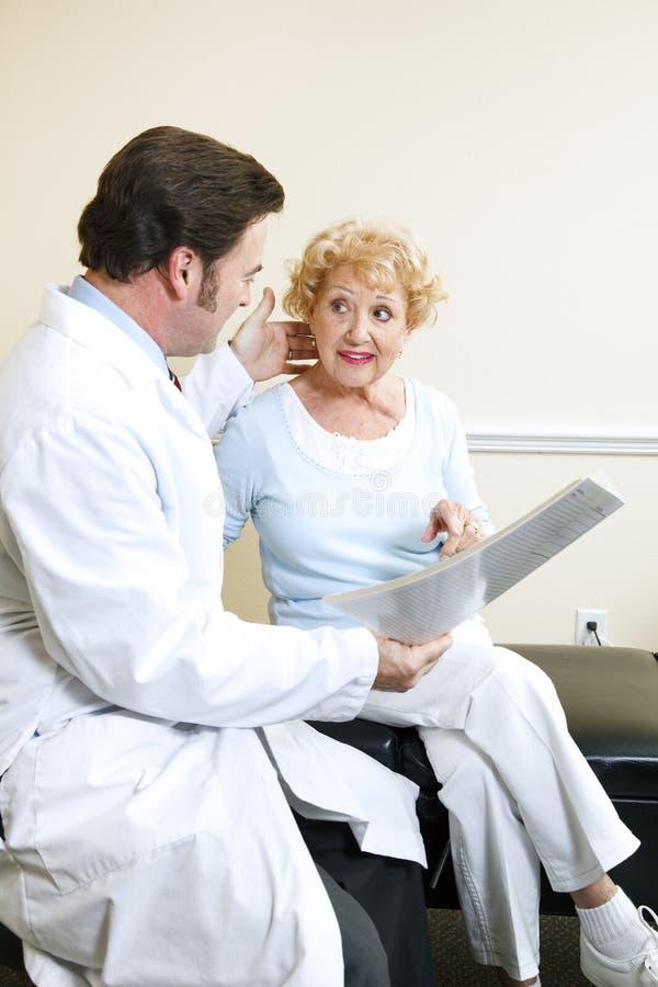 Arts en Patiënt - Symptomen stock foto