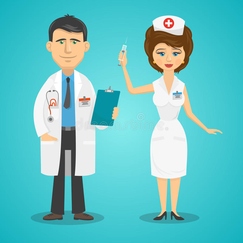 Arts en verpleegster stock illustratie