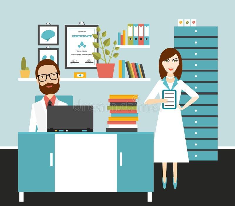 Arts en verpleegster bureauwerkplaats royalty-vrije illustratie