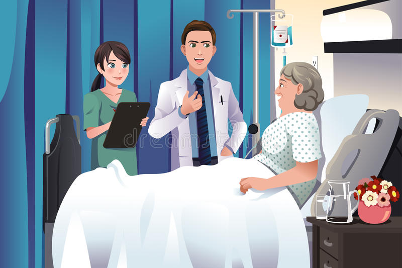 Arts en verpleegster die aan een patiënt bij het ziekenhuis spreken vector illustratie