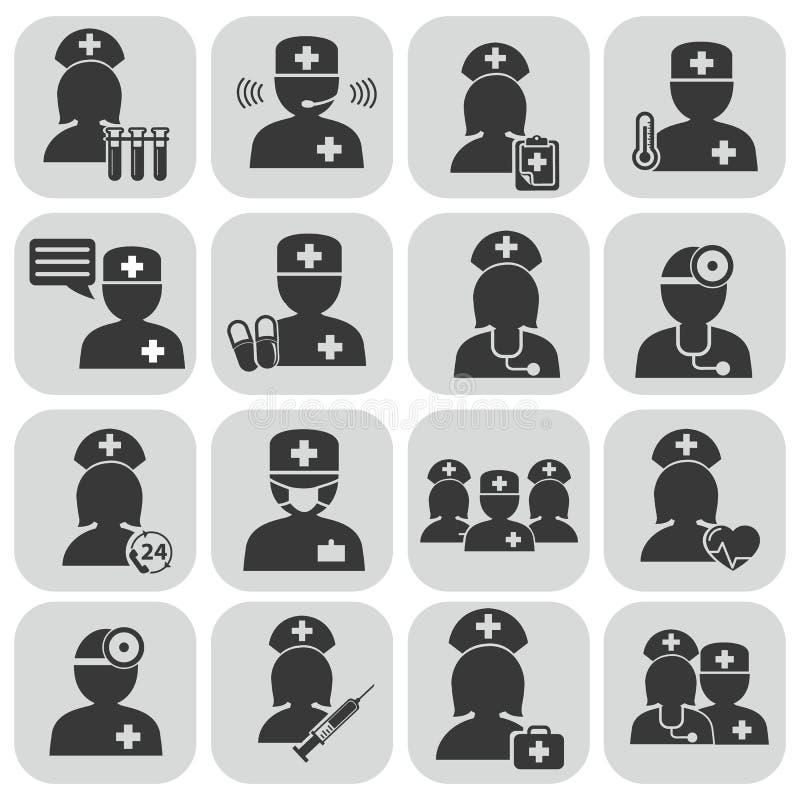 Arts en Verpleegsters pictogrammen royalty-vrije illustratie