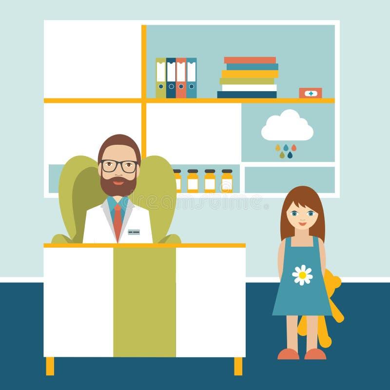Arts en weinig patiënt in bureauchirurgie Pediatrische kliniek royalty-vrije illustratie