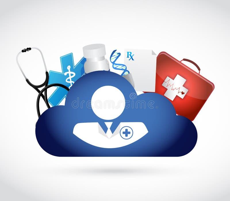 arts en wolk de opslag van gegevensverwerkingsgegevens Geïsoleerde vector illustratie