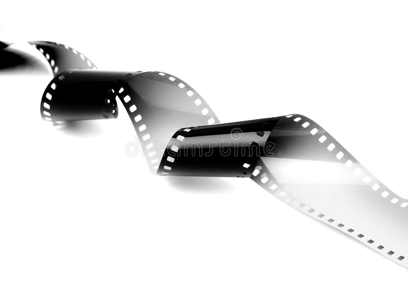 The Arts and Film. 35mm film strip isolated on white background stock photography