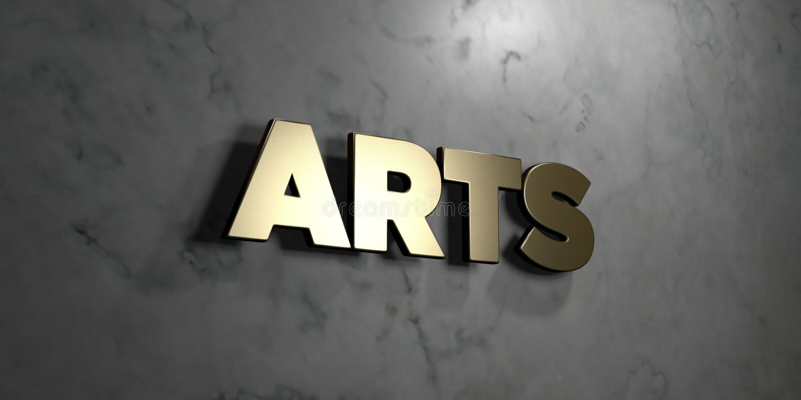 Arts - Gold sign mounted on glossy marble wall - 3D rendered royalty free stock illustration vector illustration