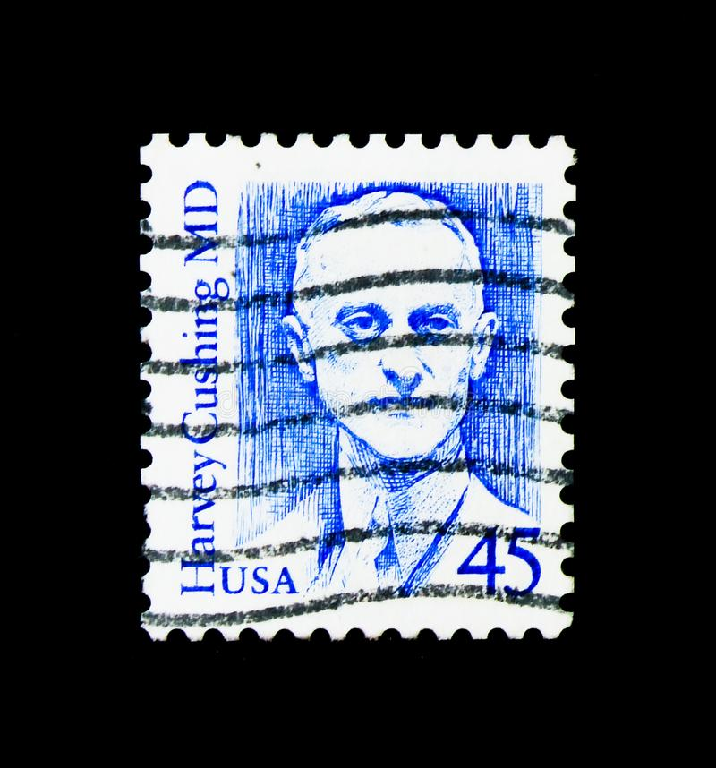 Arts Harvey Cushing, Grote Amerikanen serie, circa 1988 royalty-vrije stock afbeelding