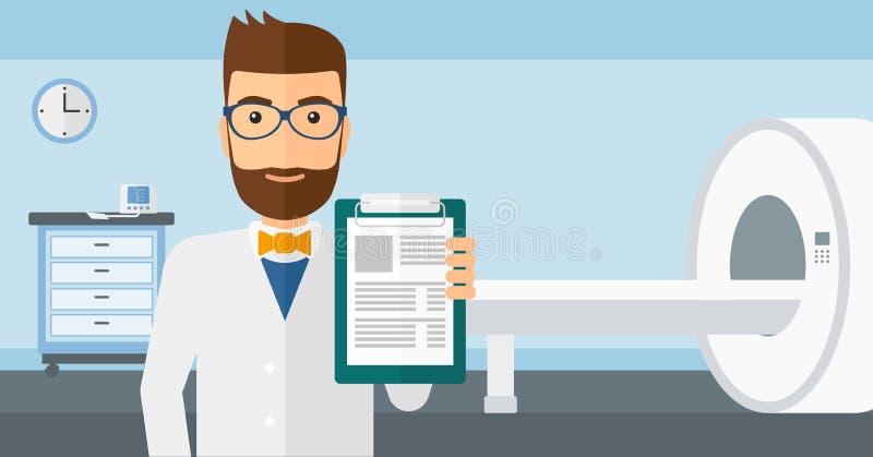 Arts in het ziekenhuisruimte met MRI-machine vector illustratie