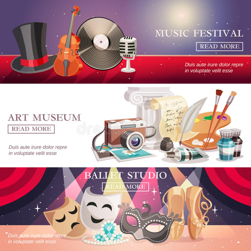 Download Arts Horizontal Banners Set Stock Vector - Illustration of element, museum: 90858271