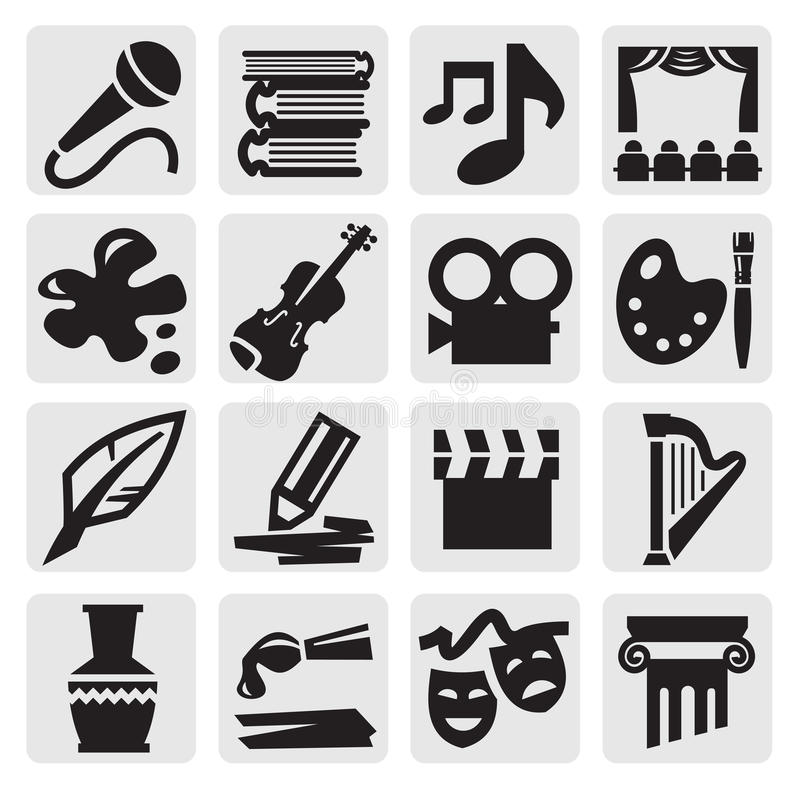 Arts icon set. Vector black arts icon set on gray