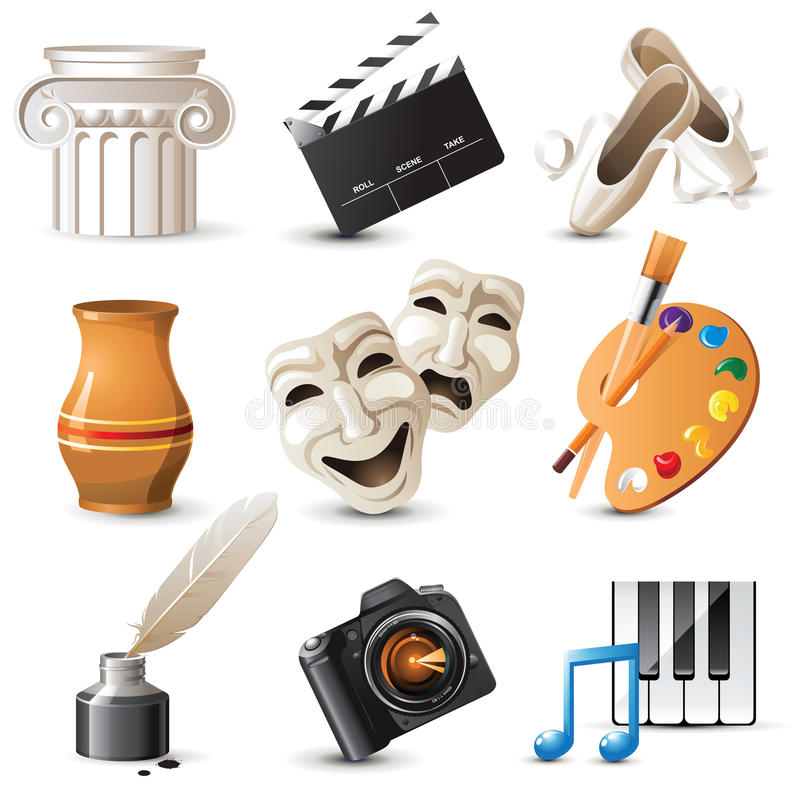 Download Arts icons stock vector. Image of arts, paint, feather - 22552366