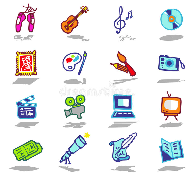 Download Arts icons set stock vector. Illustration of artworks - 10551594