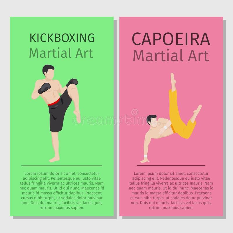 Arts martiaux asiatiques Kickboxing et Capoeira illustration de vecteur