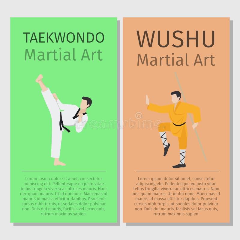 Arts martiaux asiatiques Le Taekwondo et Wushu illustration stock