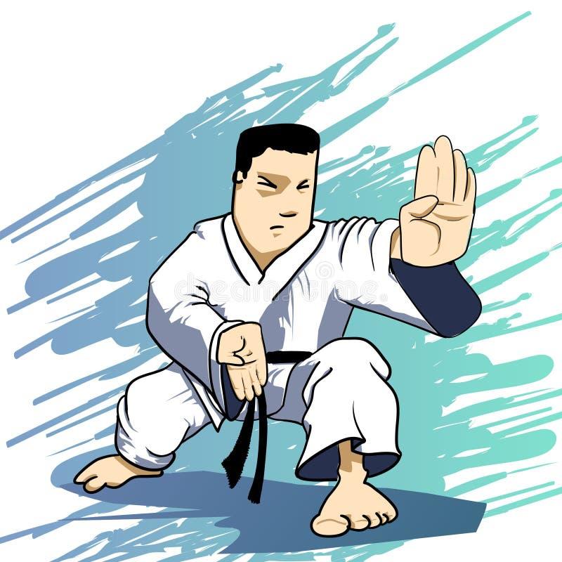 Arts martiaux - grève de pouvoir de karaté illustration de vecteur
