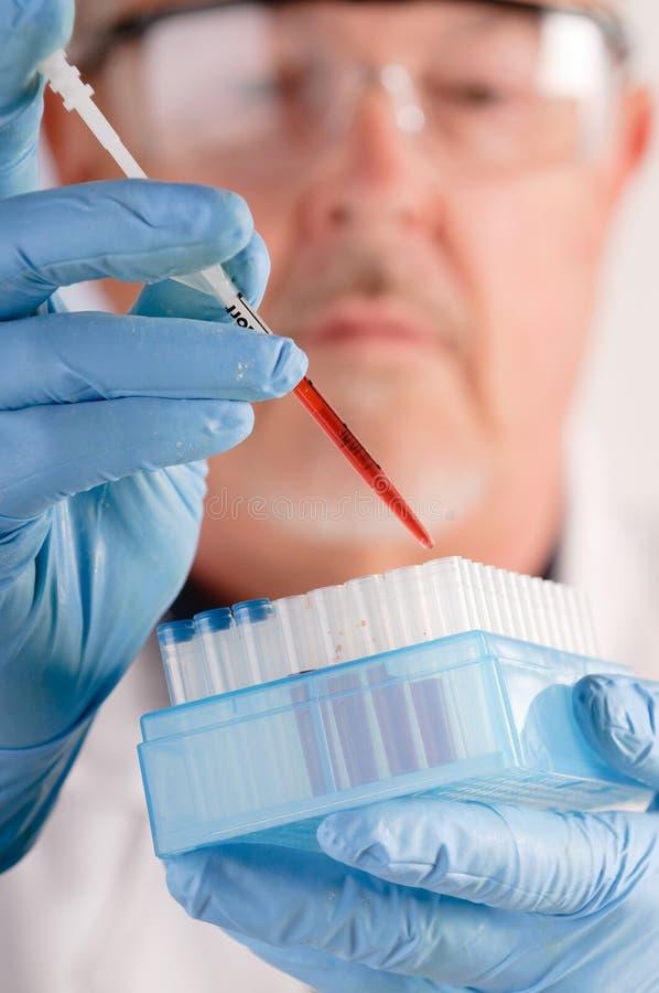 Arts met bloedsteekproeven stock fotografie