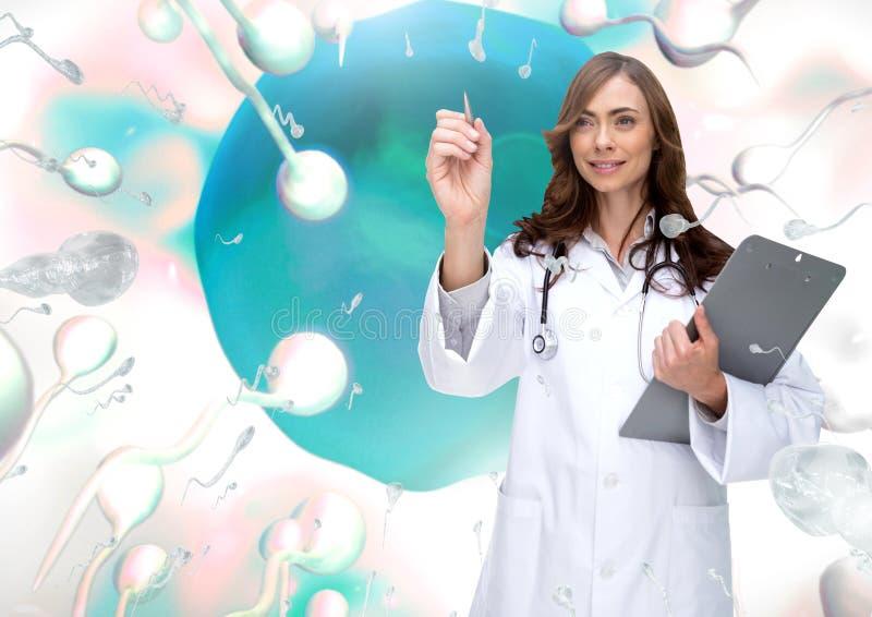 Arts met de eierstok van de spermareproductie voor geboortenregeling vector illustratie