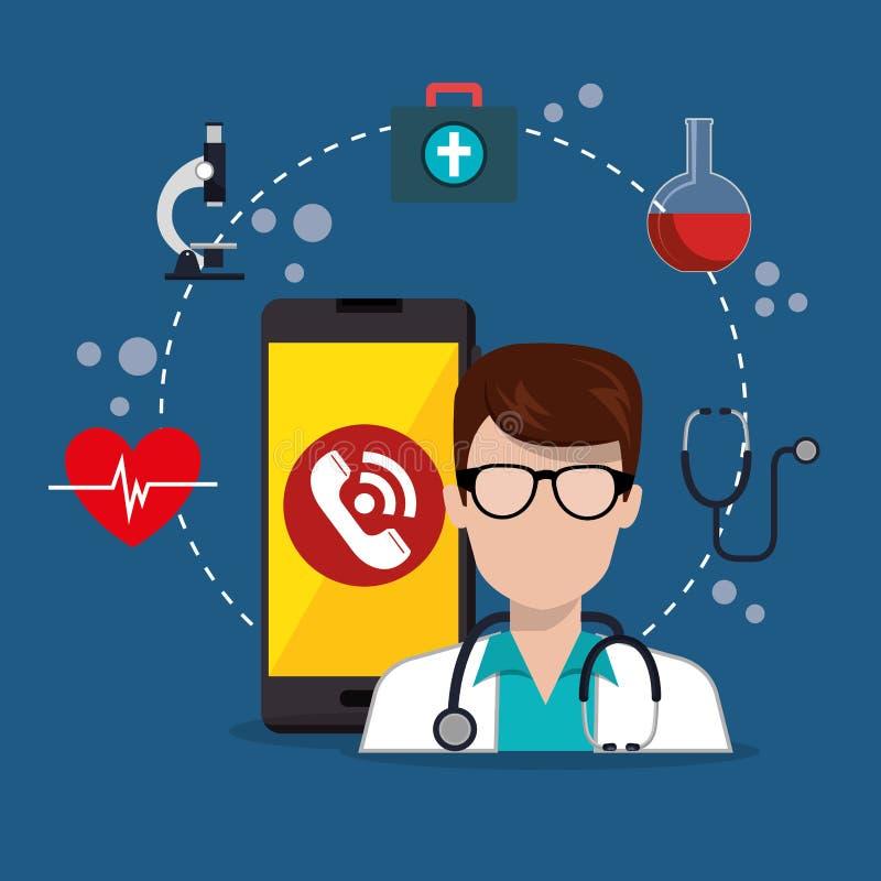 Arts met de smartphone medische diensten app stock illustratie