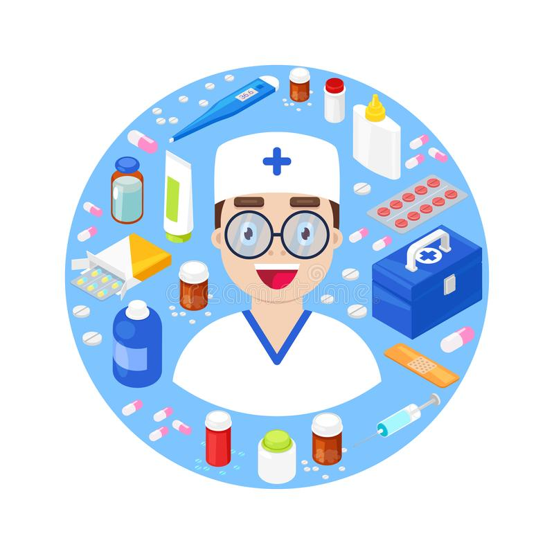 Arts met medische apparatuur royalty-vrije illustratie
