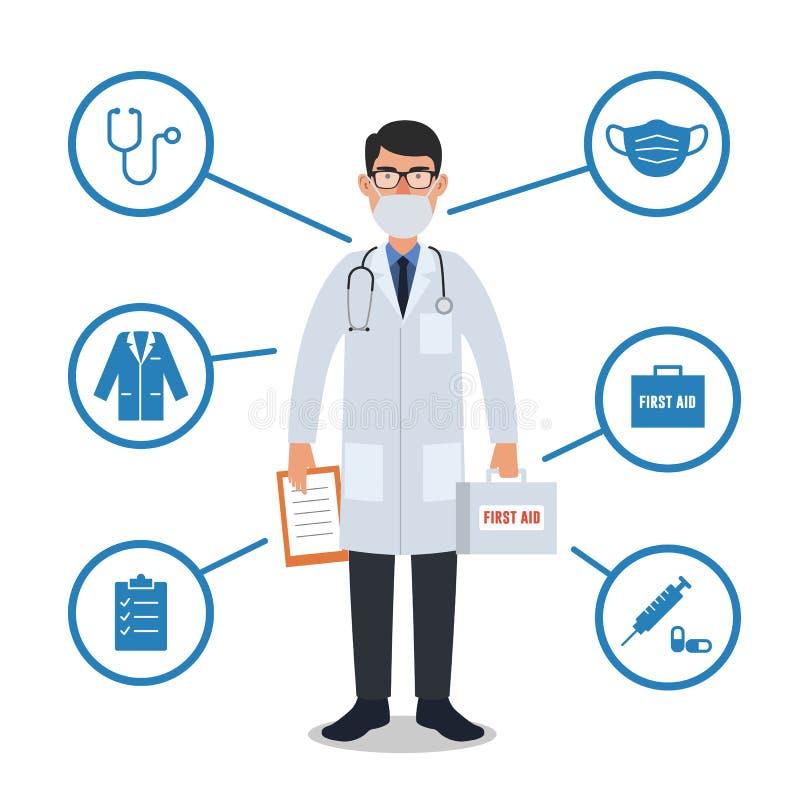 Arts met medische apparatuur Stethoscoop, eerste hulpdoos, injectie, masker vector illustratie