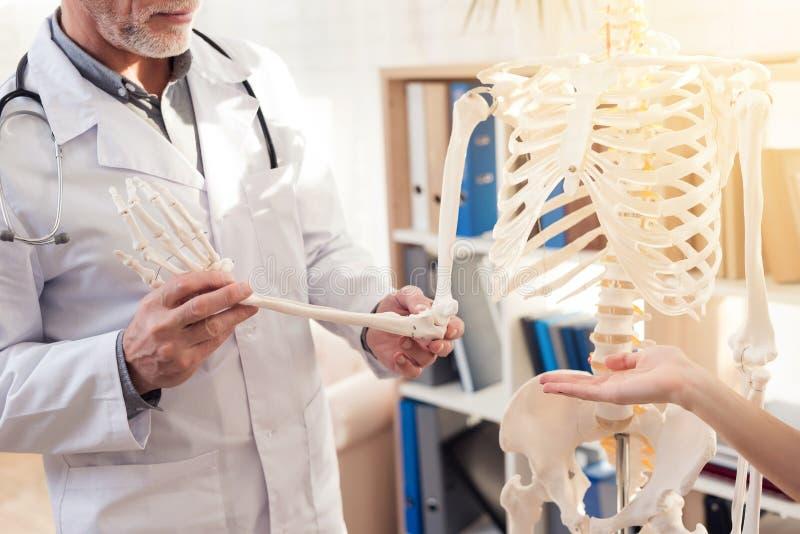 Arts met stethoscoop en vrouwelijke patiënt in bureau De arts toont skelet` s hand stock afbeeldingen