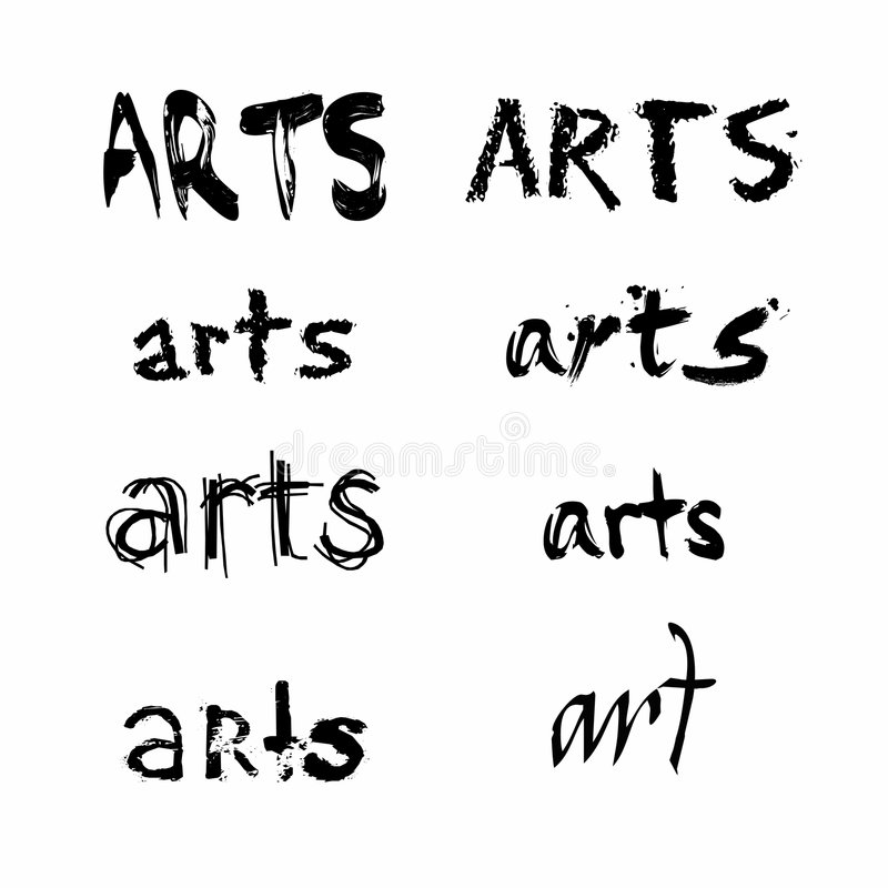 Download Arts Spelled In Various Fonts Stock Vector - Illustration: 6809189