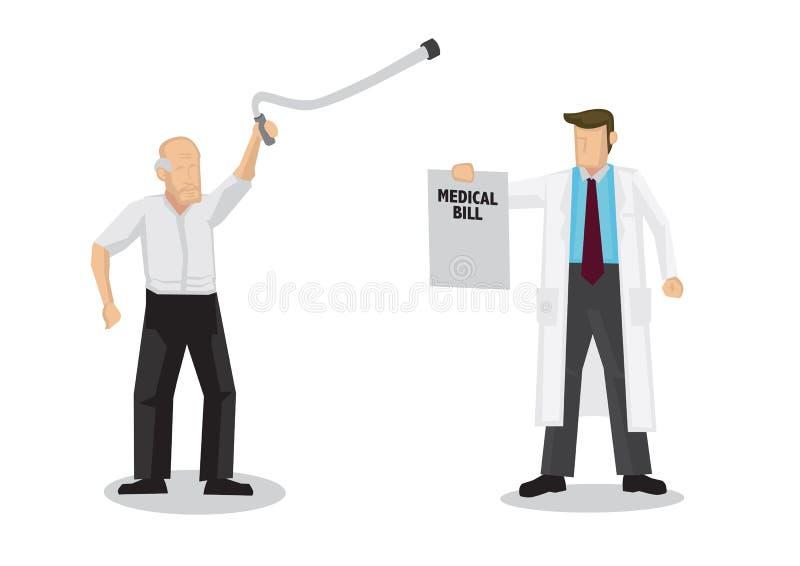 Arts vraagt medische rekening van een bejaarde Begrip gezondheidszorg en medische zorg royalty-vrije illustratie