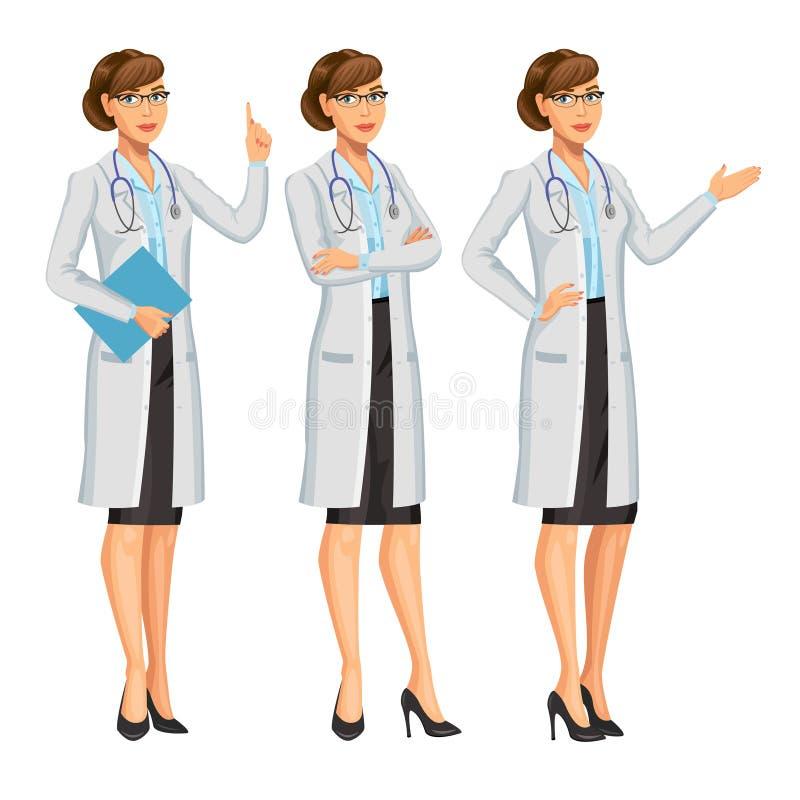 Arts, vrouw met stethoscoop, het gesturing Medische vrouw royalty-vrije illustratie