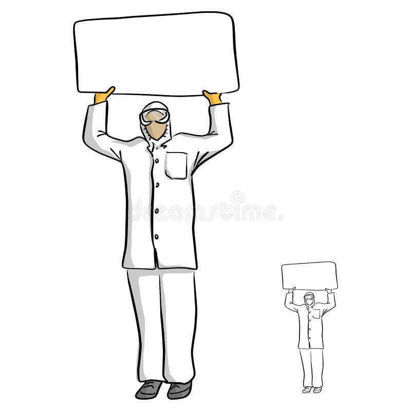 Arts of wetenschapper die met beschermende glazen leeg teken F houden vector illustratie