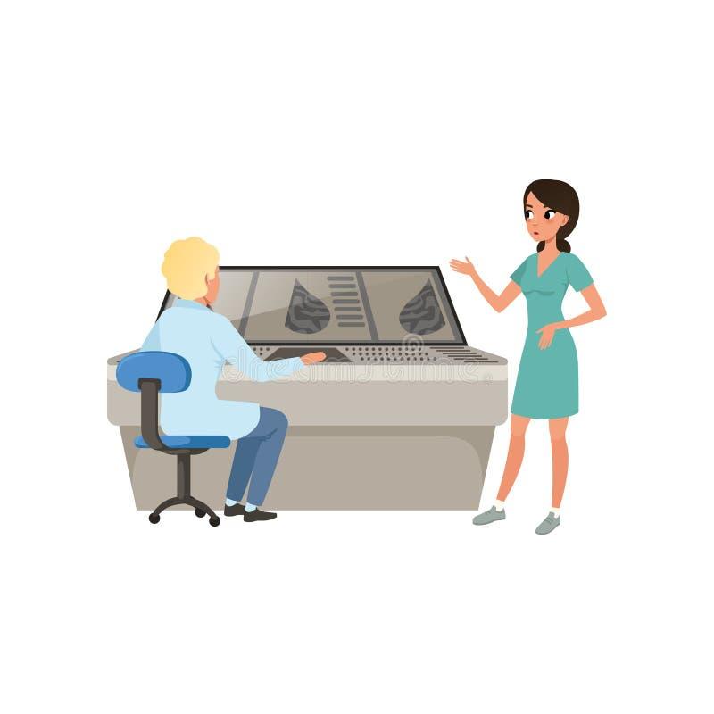 Artsen die de resultaten van een algemeen medisch onderzoek, mammograminformatie, diagnose bespreken van de vector van borstkanke vector illustratie