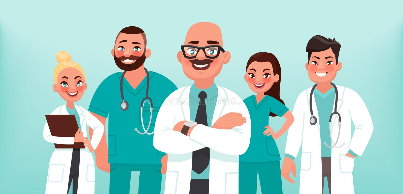 artsen Een groep gezondheidsarbeiders Belangrijkste arts en medische specialisten vector illustratie