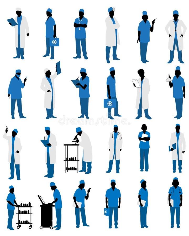 Artsen in eenvormige silhouetten royalty-vrije illustratie