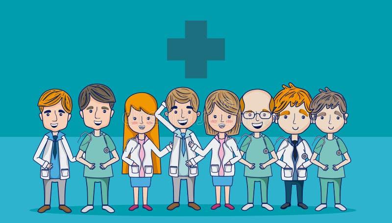 Artsen en medisch team royalty-vrije illustratie