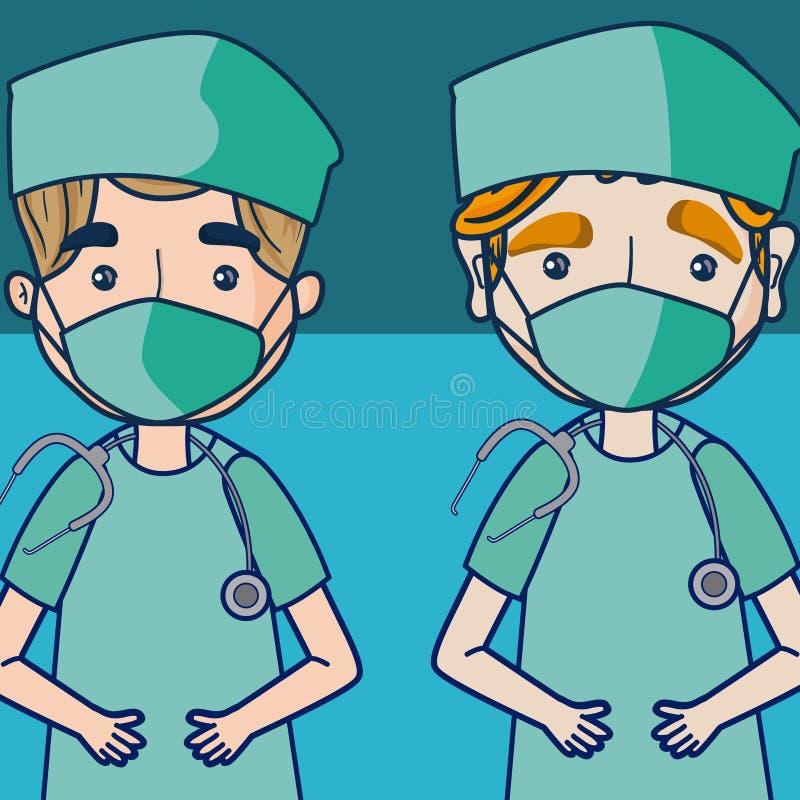 Artsen en medisch team stock illustratie