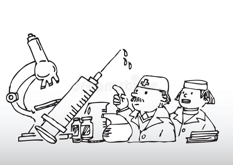 Artsen en medische apparatuur stock illustratie