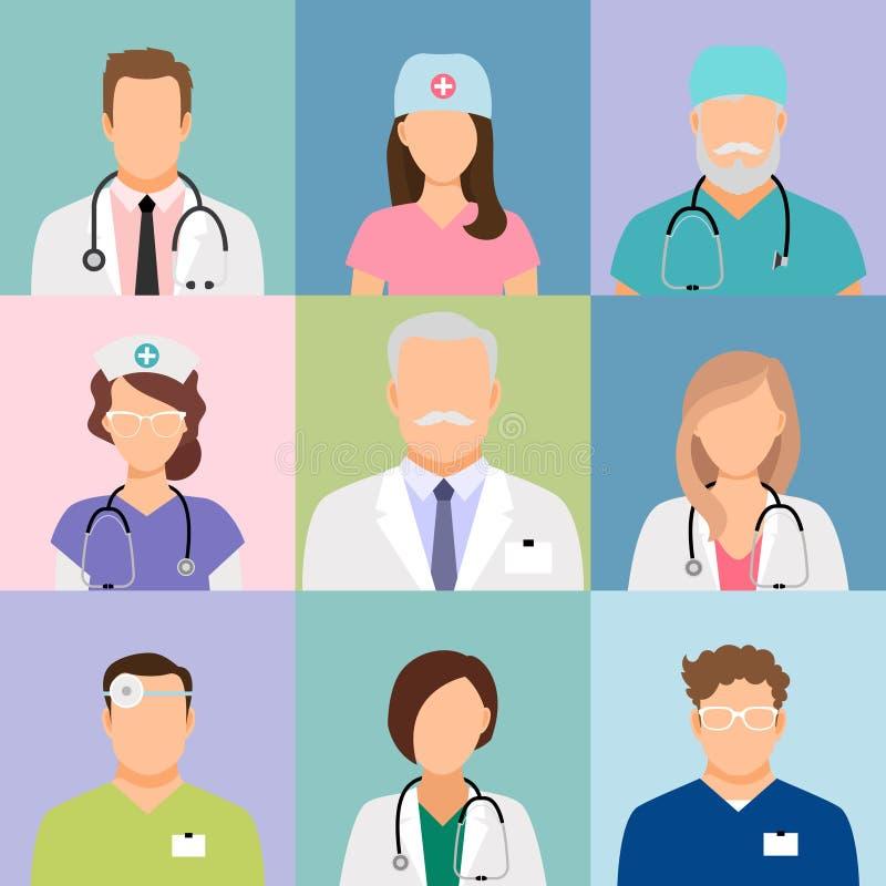 Artsen en verpleegsters profielpictogrammen royalty-vrije illustratie