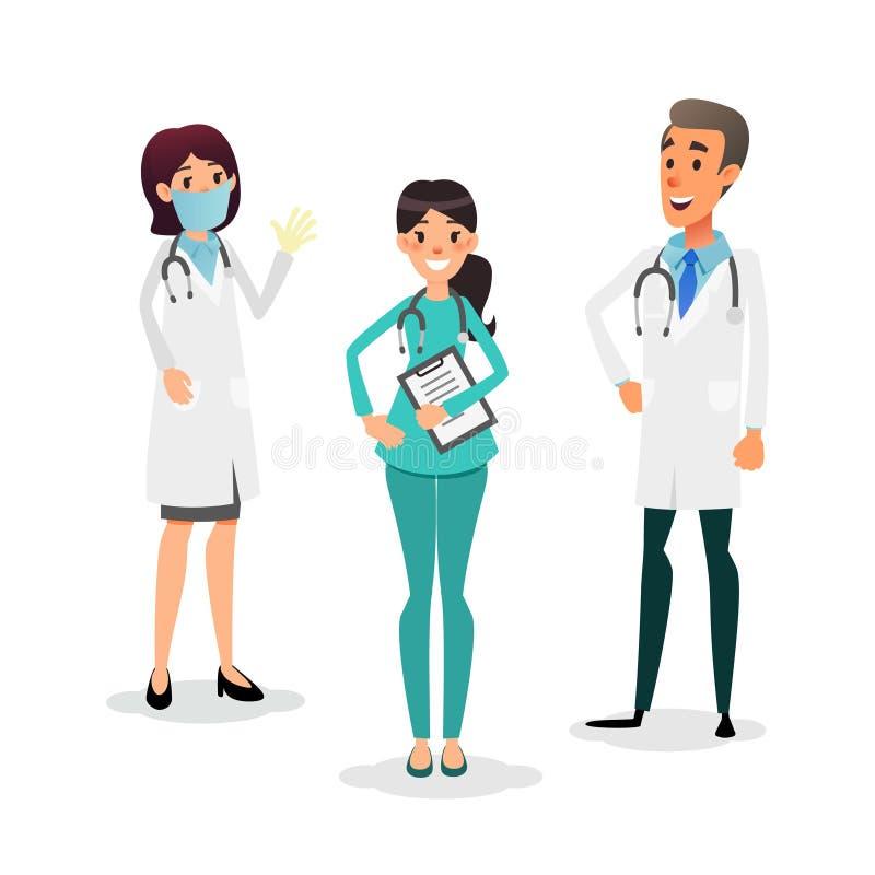 Artsen en verpleegsters team Beeldverhaal medisch personeel Medisch teamconcept Chirurg, verpleegster en therapeut op het ziekenh stock illustratie