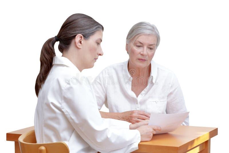Artsen geduldige document witte achtergrond stock afbeelding