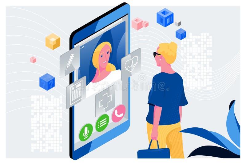 Artsen online concept Vrouw die een online overleg met haar arts hebben Online medische kliniekcommunicatie met vector illustratie