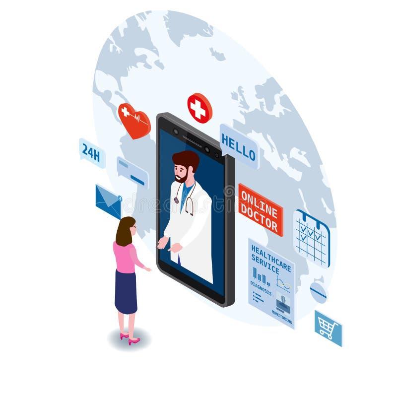 Artsen online isometry gezondheidszorg en medisch overleg die een smartphonetechnologie gebruiken Geduldige vrouwen en arts stock illustratie