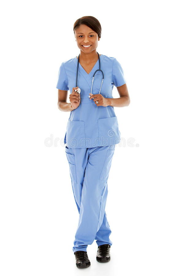 Artsen: Vrouwelijke Verpleegster op Witte Achtergrond royalty-vrije stock fotografie
