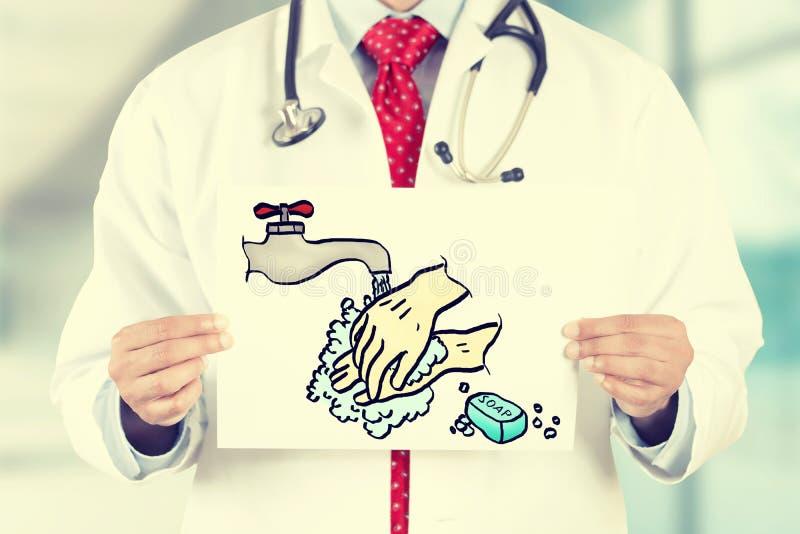 Artsenhanden die witte kaart met was houden uw handenteken stock afbeelding