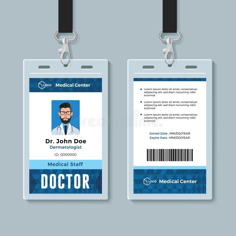 Artsenidentiteitskaart De medische ontwerpsjabloon van het identiteitskenteken royalty-vrije illustratie