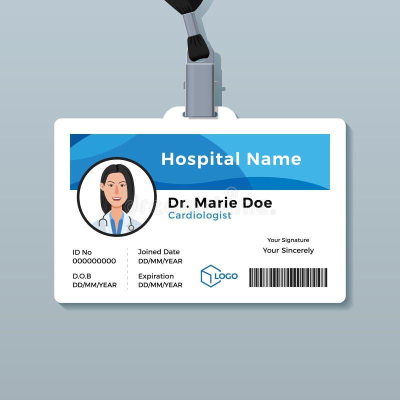 Artsenidentiteitskaart Het medische malplaatje van het identiteitskenteken stock illustratie