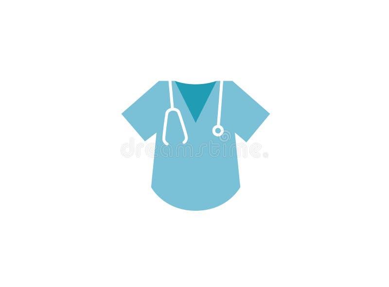 Artsenoverhemd en stethoscoop voor het onderzoek van het harttarief voor Embleemontwerp royalty-vrije illustratie