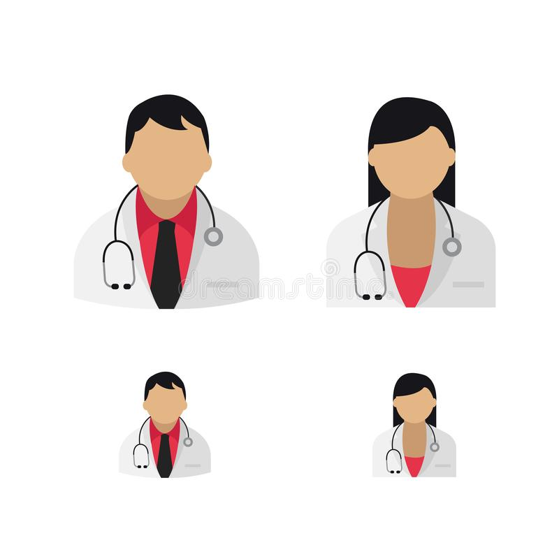 Artsenpictogrammen in beide geslachten vectorart. vector illustratie
