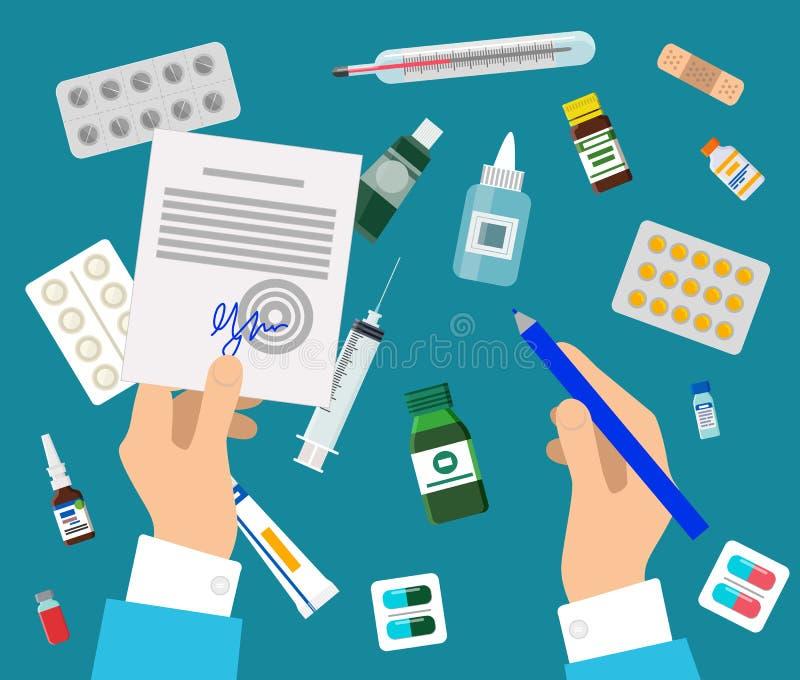 Artsens Handen en Geneesmiddelen Geplaatst Kleurrijke Affiche vector illustratie
