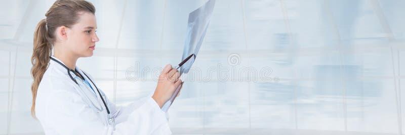 Artsenvrouw die een radiografie tegen blauwe achtergrond bekijken royalty-vrije stock afbeelding