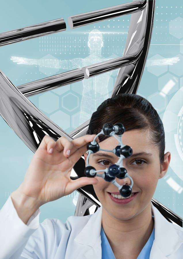 Artsenvrouw die zich met 3D DNA-bundel bevinden stock foto's