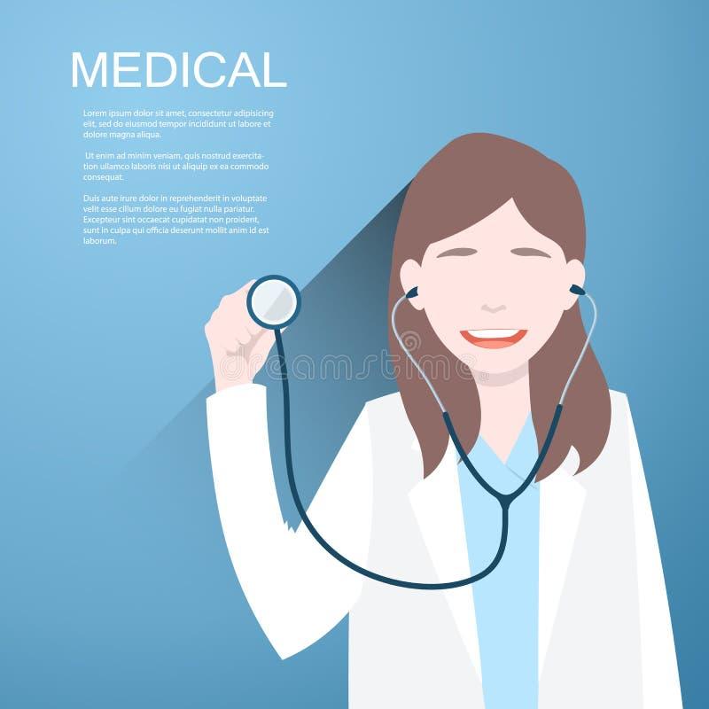 Artsenvrouwen met een stethoscoop in de handen op achtergrond royalty-vrije illustratie