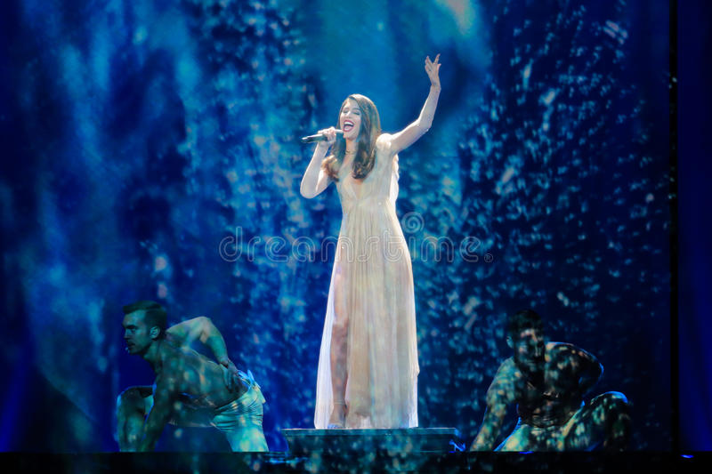 Artsvik from Armenia at the Eurovision Song Contest. KYIV, UKRAINE - MAY 08, 2017: Artsvik from Armenia at the first semi-final rehearsal during Eurovision Song stock image